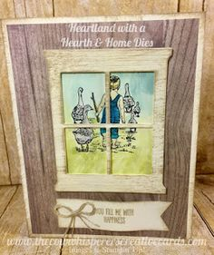 Heartland Stamp Set, Hearth & Home Dies, Pinewood Plank, Embossing Folder, Card, Stampin Up, Rustic, Country, Window