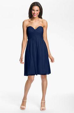 Donna Morgan Strapless Silk Chiffon Dress available at #Nordstrom #Nordstromweddings