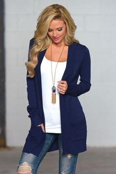 The Nearness of You Cardigan - Navy