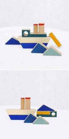 Wooden Boat stacking toy Wooden blocks by TheWanderingWorkshop