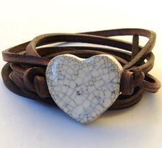 ..a bohemian leather bracelet with a Howlite stone (progress, memory, & knowledge) ..☮