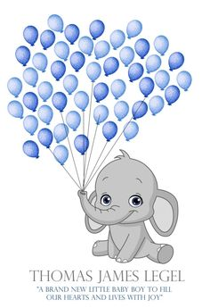 Elephant baby shower fingerprint guest book balloon stamp included grey and blue baby gray elephant Baby Shower Fingerprint, Baby Elefante, Guest Book Tree, Grey Elephant, Ink Pads, Baby Boy Shower, Babyshower, Decoration, Balloons
