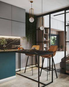 Industrial Style Kitchen, Loft Kitchen, Home Decor Kitchen, Kitchen Interior, Home Room Design, Home Design Plans, Interior Design Living Room, Room Partition Designs, Living Room Partition Design