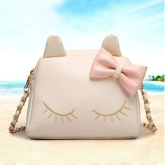 Sweet cute cat bow shoulder bags