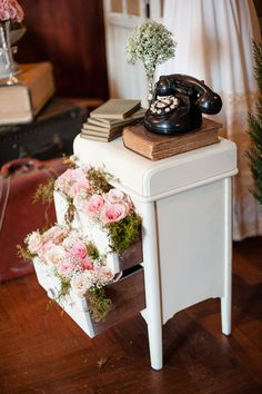Nightstand filled with roses and moss | Glamorous English Garden Wedding At Laurel Hall Indianapolis | Photograph by Anya Albonetti Photography  http://storyboardwedding.com/english-garden-wedding-laurel-hall-indianapolis/