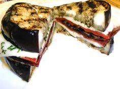oh ma gah... grilled eggplant sandwich (breadless!!!)