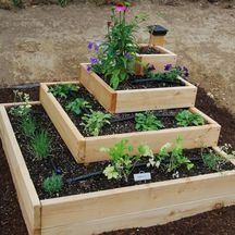 Dave made something similar for our yard in Springfield, only each box was placed on top of another at an angle, like a diamond. Fun type of raised bed.