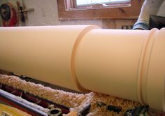 A column being turned in the lathe.