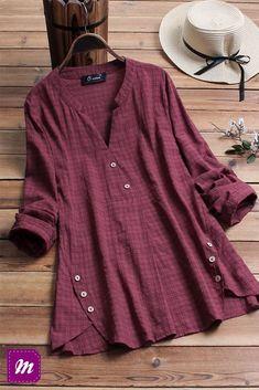 FloryDay / New Year Sale Plus Size Tartan V-Neckline Casual A-line Blouses Long Sleeve Plus Blouses Plus Size Shirts, Plus Size Blouses, Plus Size Tops, Blouse Sexy, Long Blouse, Blouse Outfit, Kurta Designs, Blouse Designs, Refashioned Clothes