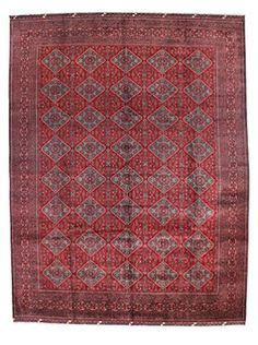 """Bashian Hand-Knotted Afghan One-of-a-Kind Rug, Red, 9' 9"""" x 13' 1"""""""