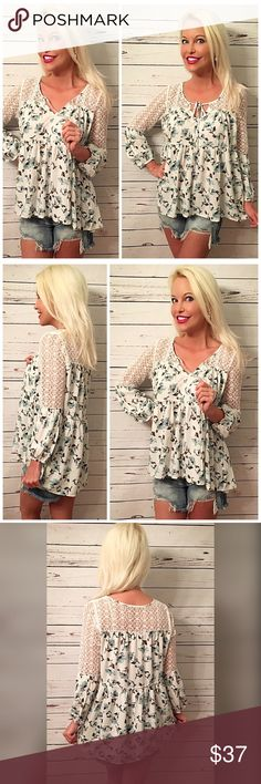 Gorgeous white/blue floral lace accent tunic Covered in beautiful delicate lace hi lo tunic length ruffled back with tie front Tops Tunics