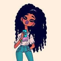 """1,006 Likes, 16 Comments - ELOI (@viteloi) on Instagram: """"Black roses in my garden 💕✨ #selfie #braids #retro #baby #illustration #arte #negra #afro…"""""""