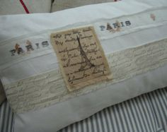 Cottage Pillow FrenCH White Shabby Chic Denim Hand Stamped Ribbon Down & Feather Insert 12x20