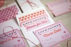 DIY Valentines day ideas: Printable Valentine's Day Love Coupons and envelope liners (FREE)