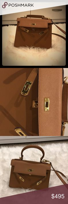 Tan colored bag Tan colored bag with gold details, looks like Hermès Kelly, with handle and detachable shoulder strap, 9inches across Hermes Bags Shoulder Bags