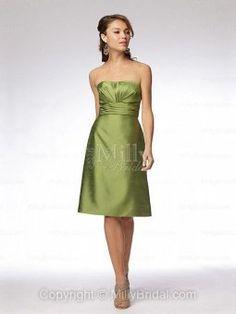 A-line Strapless Taffeta Knee-length Sage Sashes / Ribbons Bridesmaid Dresses