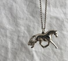 Silver Dressage Horse in Extended Trot Pendant by ErinloomisStudio on Etsy