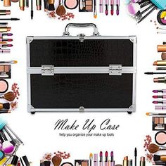 (Advertisement) Organizer Box Make Up Large Cosmetic for Lockable Black Containing Storage Box Travel Cosmetic Bags, Travel Toiletries, Cosmetic Case, It Cosmetics Brushes, Makeup Cosmetics, Makeup Brushes, Makeup Box, Makeup Case, Professional Makeup Bag