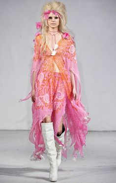 Zandra Rhodes Restrospective - print on the body and legs which is also this flowy