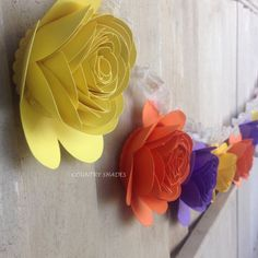 Paper Rose Flower Garland Fall Colors Purple by CountryShades