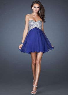 short dark blue strapless open back prom cocktail dress | Luxury