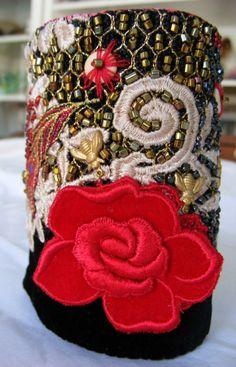 Elegant Victorian Valentine Red Rose Cuff by arttoweardiva on Etsy, $62.00