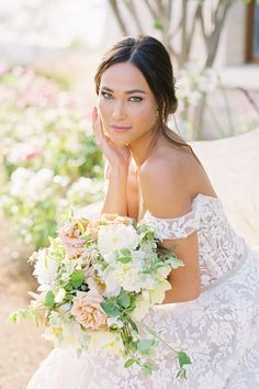 You don't want to miss this enchanting editorial at the exclusive @calaviespa! 💐 Sun-drenched hillsides, Provencal architecture, and a 400-year-old chapel from Dijon, France are just a few things you can expect to see in this dreamy inspiration shoot. | Photography: @jacquicole #stylemepretty #summerwedding #weddingdress #summerweddingflowers