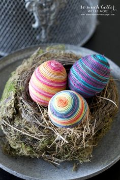 How to make bright and colorful twine wrapped Easter eggs.