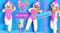 Como hacer PIJAMA de UNICORNIO para MUÑECAS Barbie SIN COSER FÁCIL! MA... Barbie Dolls Diy, Diy Barbie Clothes, Fairy Clothes, Barbie Doll House, Barbie Dream, Doll Clothes, Barbie Knitting Patterns, Barbie Patterns, Barbie Accessories