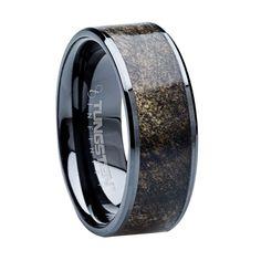 wood inlay men's wedding bands | Mens Wedding Bands - 8 mm Tungsten Carbide with Buckeye Wood Inlay ...