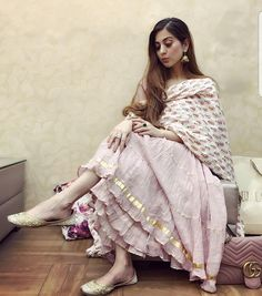 Stunning Cotton Full Ghera Long Gown with Floral Print Dupatta Set 🌸 Beautiful Gotta Lace Work done. Sizes from Must Buy . 🌾 Shipping - All Over India . Indian Attire, Indian Ethnic Wear, Ethnic Suit, Ethnic Outfits, Indian Outfits, Pakistani Dresses, Indian Dresses, Pakistani Frocks, Kurta Designs