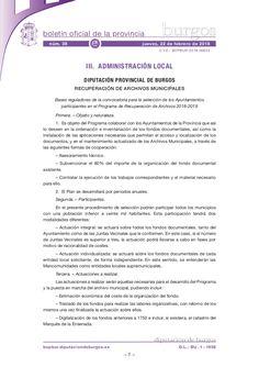 Bases reguladoras de la convocatoria para la selección de los Ayuntamientos participantes en el Programa de Recuperación de Archivos 2018-2019