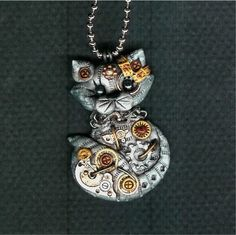 Steampunk Grey Tabby Kitty Cat Necklace Polymer Clay
