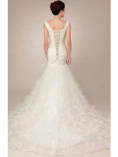Mermaid/Trumpet V-neck Lace-up Appliques Court Train Wedding Dress