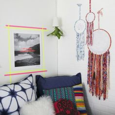 Liven up any space with plants, neon tape and dream catchers. #dreamdorm #smallspacestyle #southwestdecor #mexi