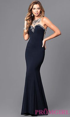 Illusion Sweetheart Prom Dress with Embellished Bodice at PromGirl.com
