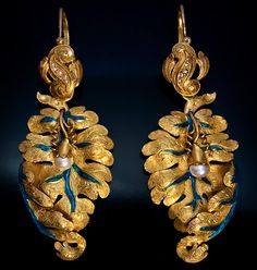 Victorian era. These naturalistically modeled and superbly detailed  DAY / NIGHT gold and pearl earrings were made in St Petersburg, Russia around 1870 by Simon Antonen.