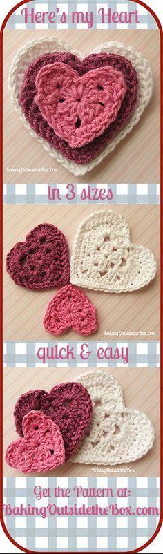 Grab your free copy of the 'Here's My Heart' crochet pattern. #bakingoutsidethebox #crochethearts #crochet #valentine