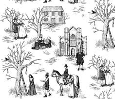 Salem Witch Trials Toile fabric by jillian_morris on Spoonflower - custom fabric