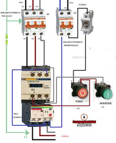Esquemas eléctricos: CONEXION CONTACTOR RELE TERMICO TRIFASICO CON PULS... Electrical Circuit Diagram, Electrical Work, Electrical Installation, Electrical Engineering, Electronics Basics, Electronics Projects, Arduino Projects, Power Strip, Linux