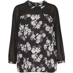 **Billie & Blossom Curve Black Floral Collar Blouse ($49) ❤ liked on Polyvore featuring tops, blouses, black, flower print blouse, peter pan collar blouse, black blouse, black floral print top and black floral print blouse