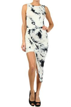 Indie Eden Tie Dye Asymmetrical Dress - White