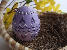 Easter Egg Pysanka in Lavender Hand Painted Chicken by EggstrArt