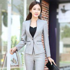 La alta calidad de 2016 mujeres traje formal Conjunto de la oficina de las señoras Ropa Mujer Pantalón juegos del juego de pantalones de estilo elegante uniforme del negocio 4XL