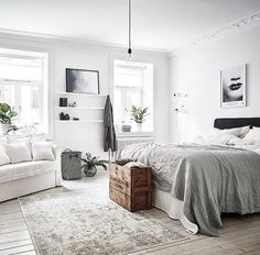 Love the shelves between the windows, rug, and colours