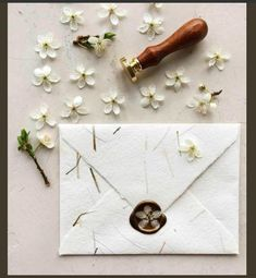 Handmade paper envelope and flower wax seal . - Koyal Wholesale Weddings - Handmade paper envelope and flower wax seal . Bespoke Wedding Invitations, Rustic Invitations, Wedding Invitation Cards, Invitation Design, Wedding Stationery, Wedding Cards, Wedding Gifts, Cricut Wedding, Diy Wedding Envelopes