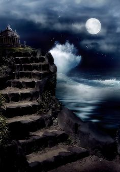 Best stairway to Heaven images free. These are the stunning pictures which look just like a stairway to Heaven leading up to the sky. Shoot The Moon, Sun Moon Stars, Moon Sea, Moon Pictures, Moon Magic, Beautiful Moon, Stairway To Heaven, Nocturne, Blue Moon