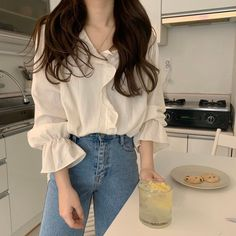 Spring Summer Solid Button Casual Blouses Ladies V-Neck Cotton Tops Flare Sleeve Ruffles Plus Size Shirt Korean Fashion Dress, Kpop Fashion Outfits, Korean Street Fashion, Asian Fashion, Look Fashion, Fashion Fall, Fashion Men, Ulzzang Fashion Summer, Skater Fashion