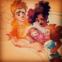 Beautiful interracial family illustration #wmbw #bwwm