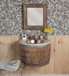 Wine Barrell Bathroom vanity and mirror... Cool farmhouse look...